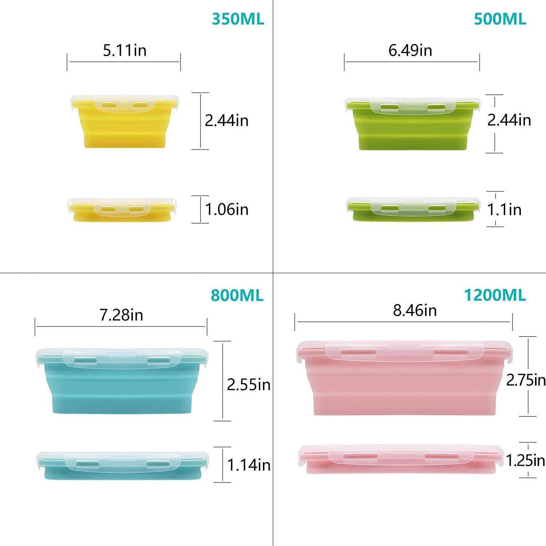 Pieghevole 4 Confezioni di contenitori Pieghevoli per Alimenti Silicone HOONOUIT 4 Colori