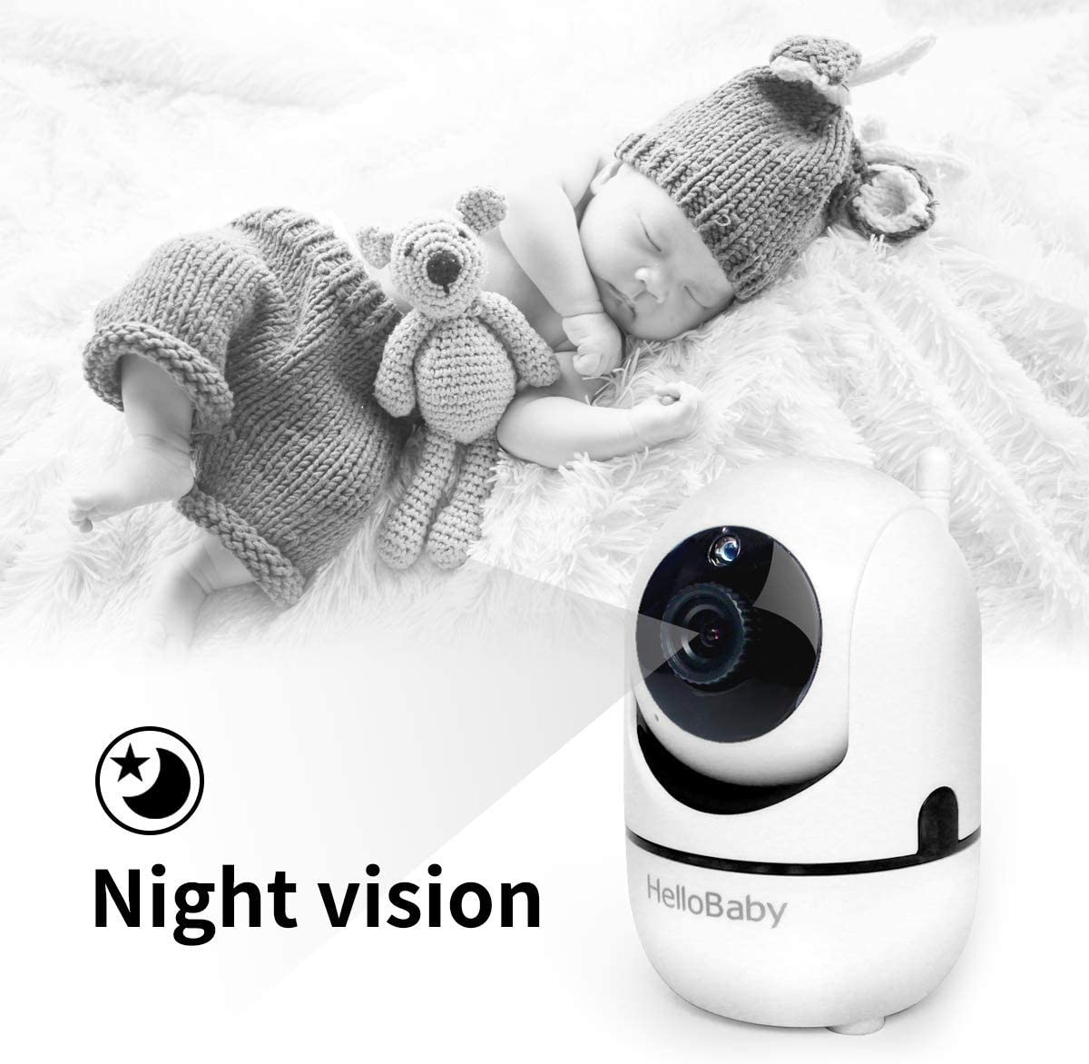 "Baby Monitor with Remote Pan-Tilt-Zoom Camera and 3.2"" LCD Screen, Infrared Night Vision (Black) 61Eh9fAQEZL"