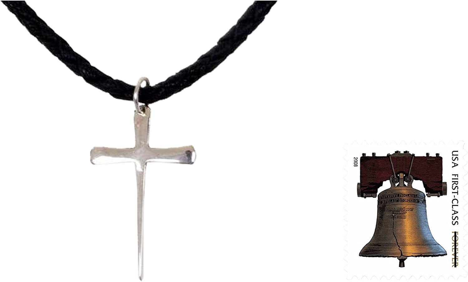 Silver Chrome Square Gothic Cross Pendant Mens Braided Brown Leather Necklace