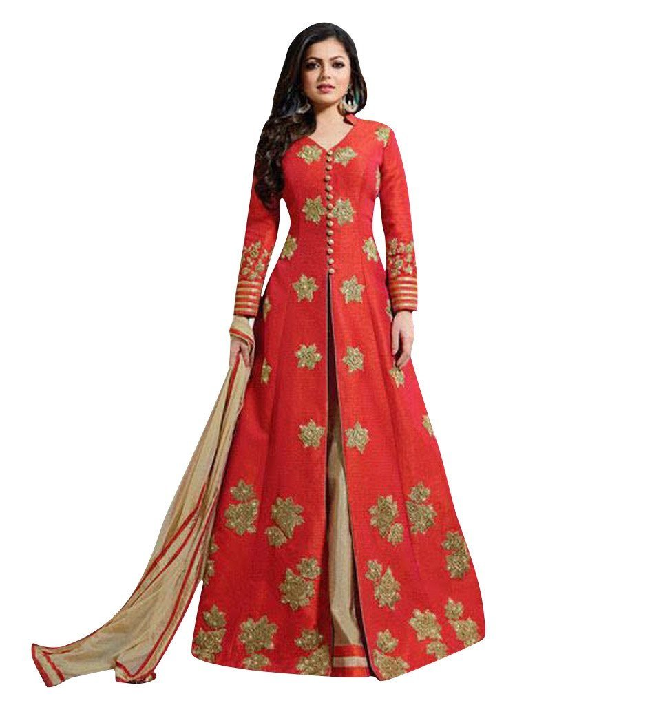 Jay Sarees Heavy Zari Sequince Work Floor Length Anarkali - Semi Stitched