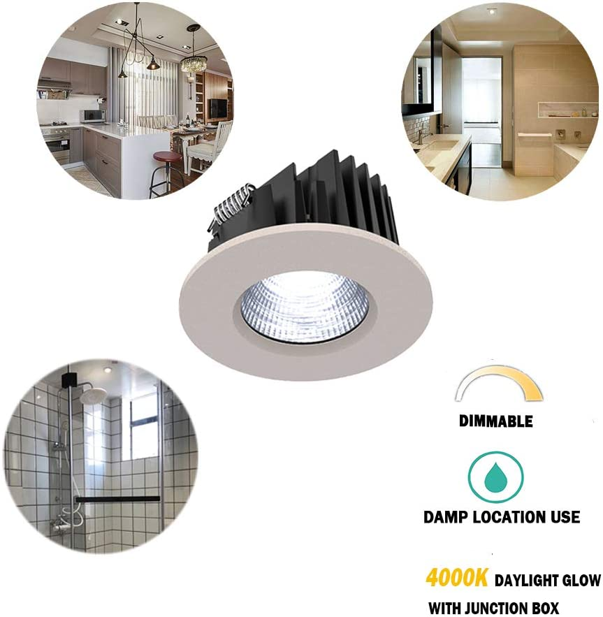 Dimmable Warm White 3000K Shower Room Light Aluminum Damp Location Use White Shower Room Downlights Ceiling Light OBSESS 3-Inch IP54 Waterproof Shower Light with 8W COB LED Downlight