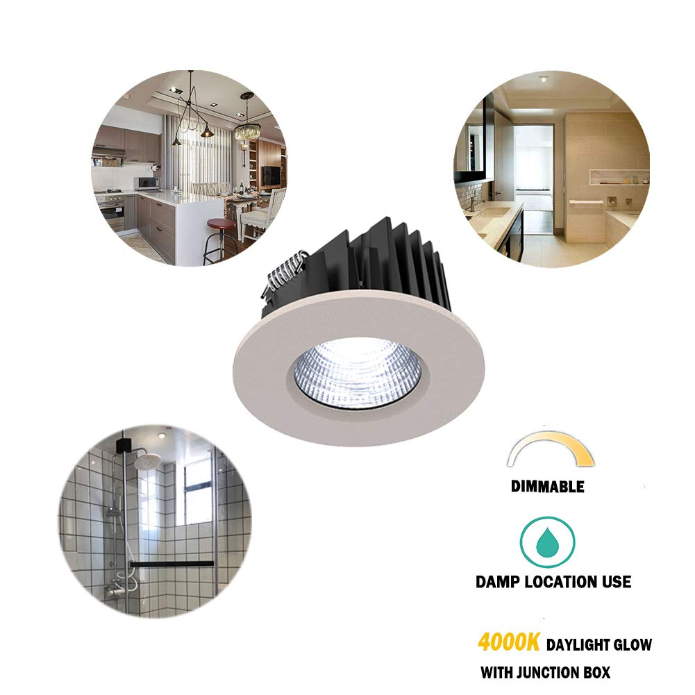 Obsess Dimmable Recessed Ceiling Down Light for Wet Location,with Junction Box,Specially Fixture Lighting for Bathroom, Shower Room, Kitchen-3 Inches-8W COB LED(4000k (Daylight Glow))