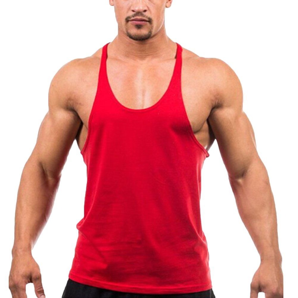 Starstreetcom Men's Vest Tank Tops Sleeveless Cotton Gym Vest Bodybuilding Muscle Y Back Stringer Racerback Vest T Shirt Undershirt