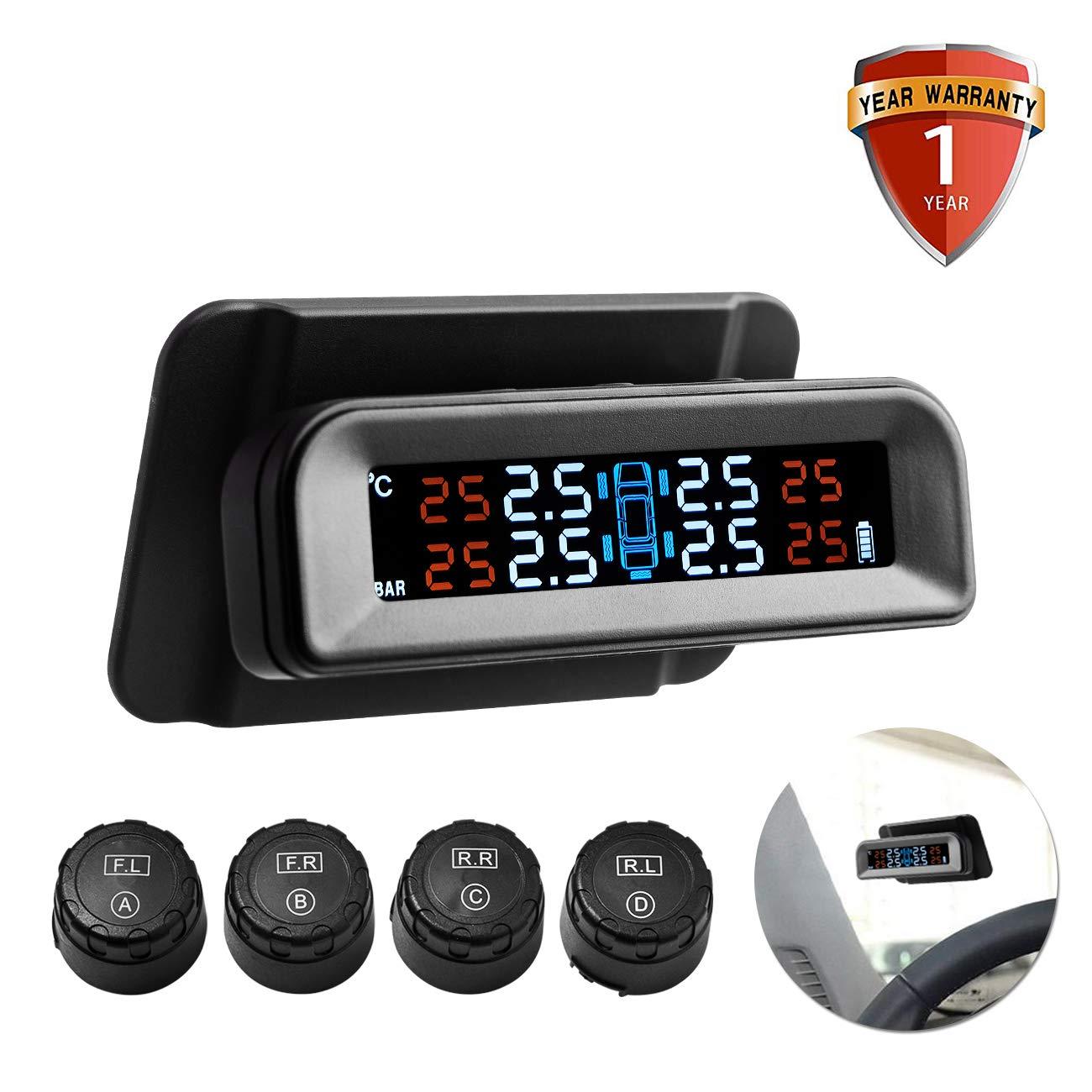 Favoto TPMS Sistema Controllo di Pressione Pneumatici per Auto 1 – 5Bar/14.5-72PSI, Monitor Pneumatici con Display LCD, 4 Sensori Esterni, Possibile di Essere Installato sulla Parabrezza FTEU-TPMS-C260