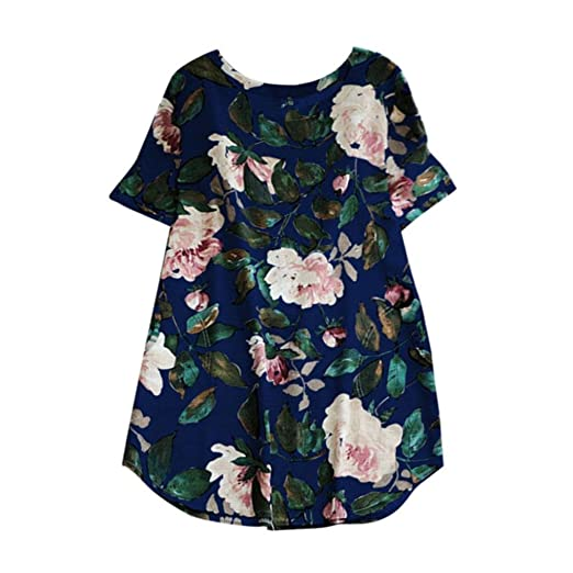 ff153f60610ee Lethez Clearance Women s Floral Print Mini Dress Plus Size Short Sleeve  Flower Summer Party Beach Dress