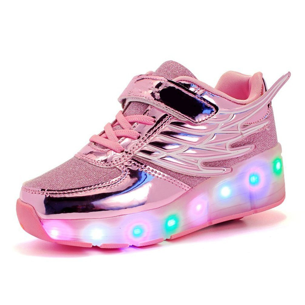 6KZMNA0Z0A Children Single Wheel Wings Glowing Shoes LED Shoes Roller Skate Shoes Pink 4 M US Big Kid