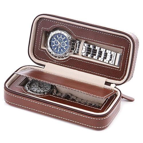 Samhe Caja para Reloj 2 Compartimentos Organizadores y Cajas para Joyas Viaje portátil para Hombres (Marrón-2): Amazon.es: Joyería