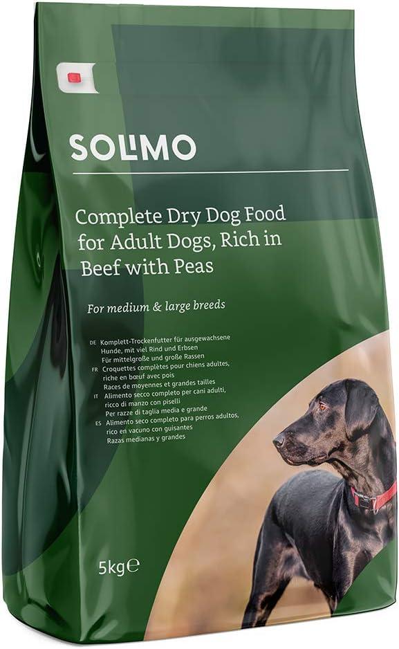 Marca Amazon - Solimo - Alimento seco completo para perro adulto rico en vacuno con guisantes, 2 Packs de 5kg