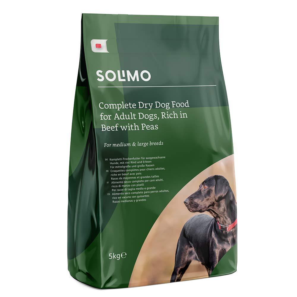 Marca Amazon - Solimo - Alimento seco completo para perro adulto rico en vacuno con guisantes, 1 Pack de 5 kg: Amazon.es: Productos para mascotas