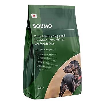 Marca Amazon - Solimo - Alimento seco completo para perro adulto rico en vacuno con guisantes, 2 Packs de 5kg: Amazon.es: Productos para mascotas