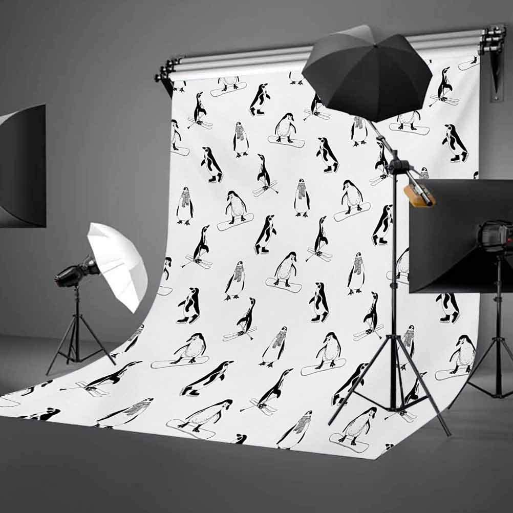 Skiing Penguins on Snowboards Winter Sports Themed Pattern Fun Animal Bird with Scarf Background for Kid Baby Artistic Portrait Photo Shoot Studio Props Video Drape 10x12 FT Photography Backdrop