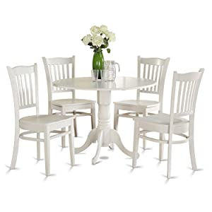 East West Furniture DLGR5-WHI-W 5-Piece Kitchen Nook Dining Table Set, Linen White Finish