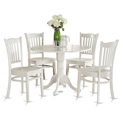 East West Furniture DLGR5-WHI-W 5-Piece Kitchen Nook Dining Table Set  sc 1 st  Amazon.com & Amazon.com - East West Furniture DLGR5-WHI-W 5-Piece Kitchen Nook ...