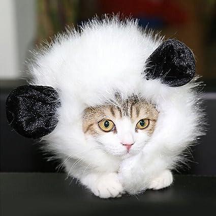 OULII Gato traje traje de la mascota León crin peluca con orejas de gato de perro (blanco)