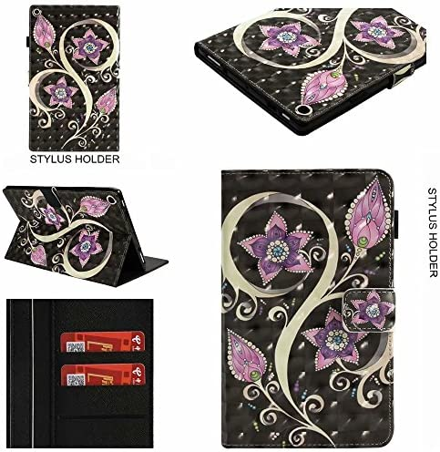 USTY Case for All-New Amazon Fire HD 10.1 inch Tablet (7th/ 5th Generation, 2017/2015 Release) – Slim Fit Premium PU Leather Smart Folding Stand Cover with Auto Wake/Sleep, Purple Flower – The Super Cheap