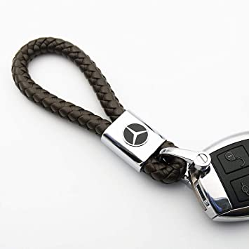 Llavero de coche con logotipo y correa de cuerda, de Fitracker, para Mercedes Benz, café