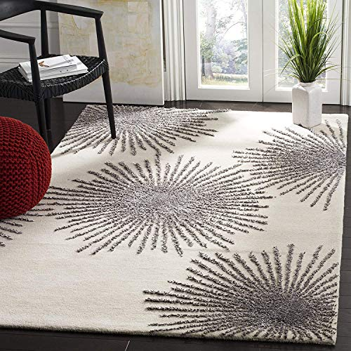 712J-5 Collection Viscose Area Rug 5' x 8' Ivory/Silver, Home Decor Area Rugs Runner for Bedroom Dining Room Living Room ()