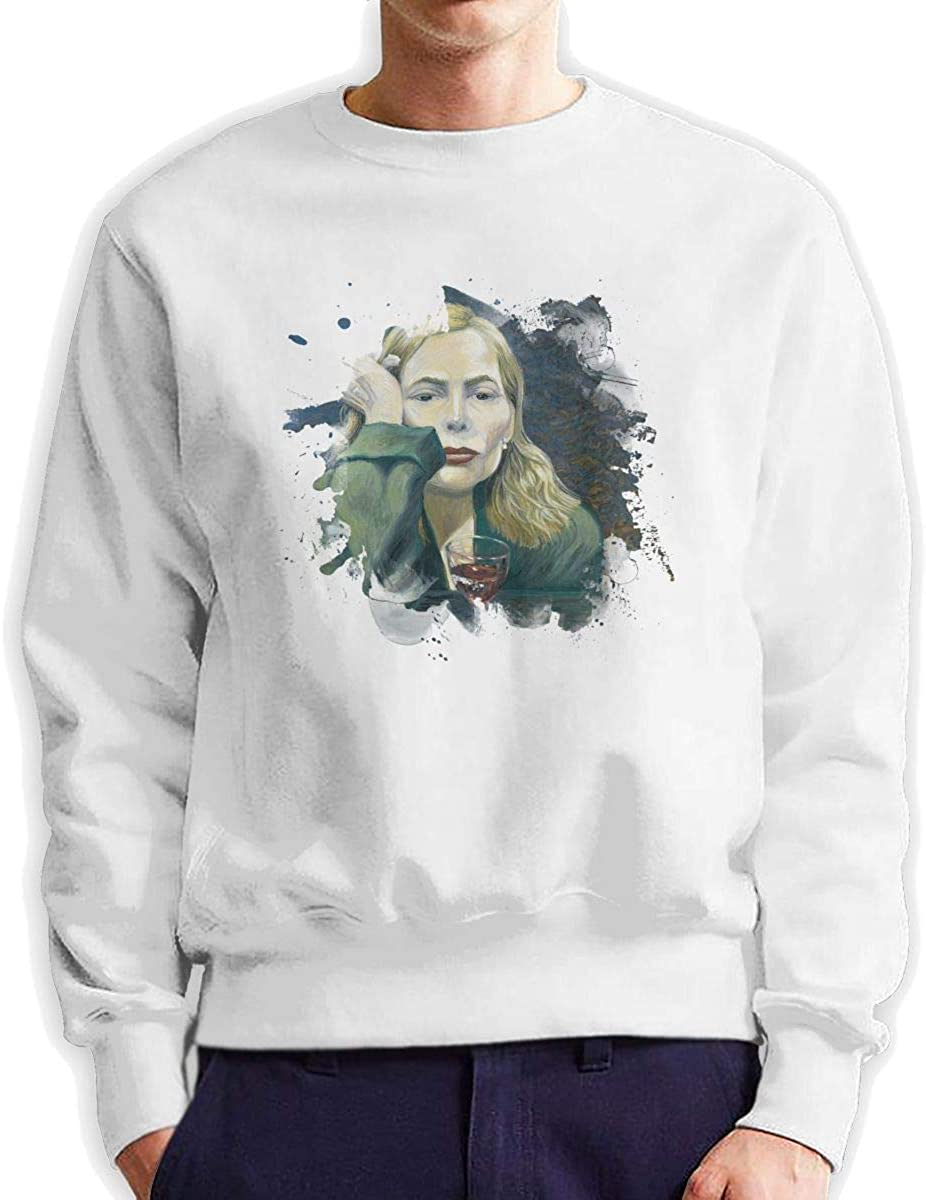 Hip Hop Sweatshirts Pullovers for Mens Crew Neck Leisure Long Sleeve Cotton Hoodied Sweater Shirts Tall Tops White M