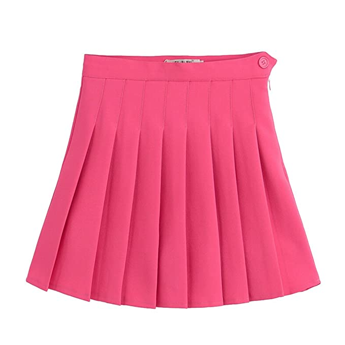 Tinksky Damen Minirock High Taille Faltenrock Schuluniform Größe M (Rose  rot) bcbba07a65