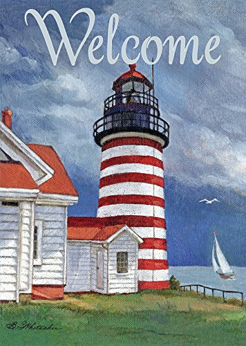 """Lang - Large Garden Flag -Lighthouse, Exclusive Artwork by Betty Whiteaker - All-Weather, Fade-Resistant Polyester - 28"""" w x 40"""" h"""