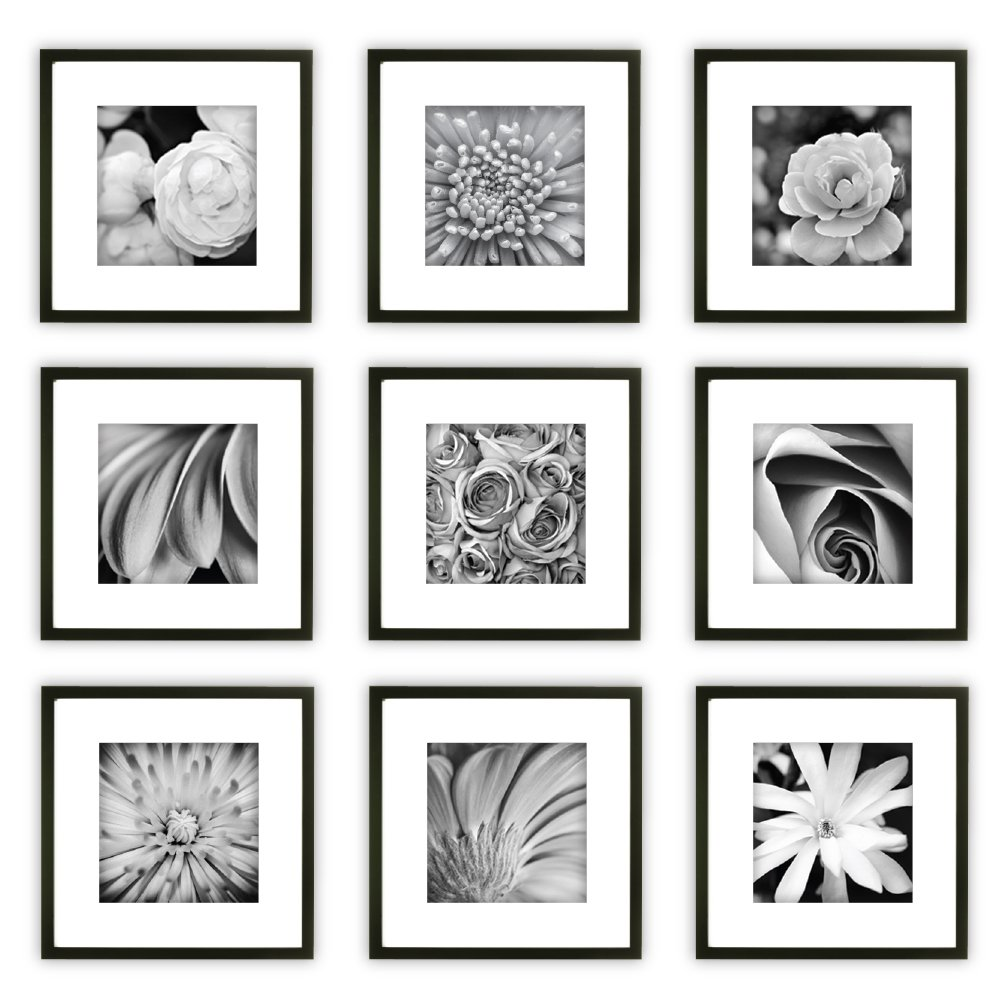 Gallery Perfect 9 Piece Black Square Photo Frame Gallery Wall Kit with Decorative Art Prints & Hanging Template by Gallery Perfect