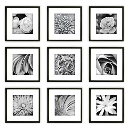 Amazon.com: Gallery Perfect 9 Piece Black Square Photo Frame Wall ...