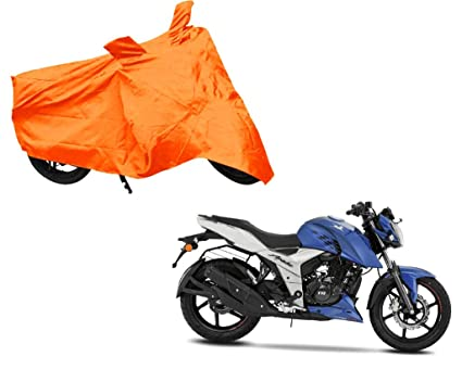 Auto Pearl Bike Body Cover with Mirror Pocket for TVS Apache RTR 160 4V  (Orange)