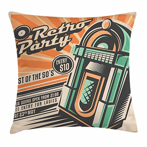 1950s Throw Pillow Cushion Cover by Lunarable, Celebration Disco DJ Entertainment Rock and Roll Young People Event Artwork, Decorative Square Accent Pillow Case, Teal Peach Salmon 61EhEh 2B3WFL