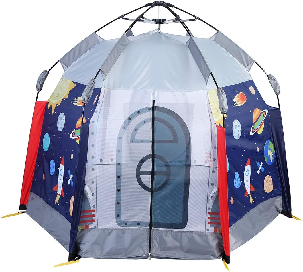 UTEX Automatic Instant 66 inches 6 Kids Play Tent for Indoor or Outdoor Fun,Kids Beach Tent Sun Shelter with Zippered Mesh Front, Camping Playhouse Indoor Playground (Space Module)