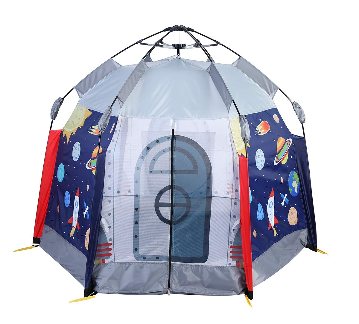 UTEX Automatic Instant 6 Kids Play Tent for Indoor/ Outdoor Fun,Kids Beach Tent Sun Shelter with Zippered Mesh Front, Camping Playhouse Indoor Playground, 66'' x 66'' x 44'' (Space Module) by UTEX (Image #1)