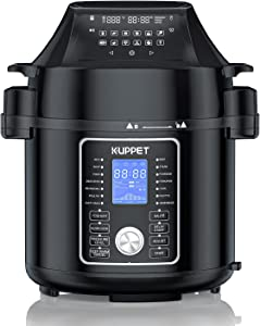 Electric Pressure Cooker, KUPPET 17-in-1 Multifunctional Pressure Cooker with Air Fryer Lid, Slow Cooker, Yogurt Maker and Warmer, 6 Quart, Stainless Steel/Black