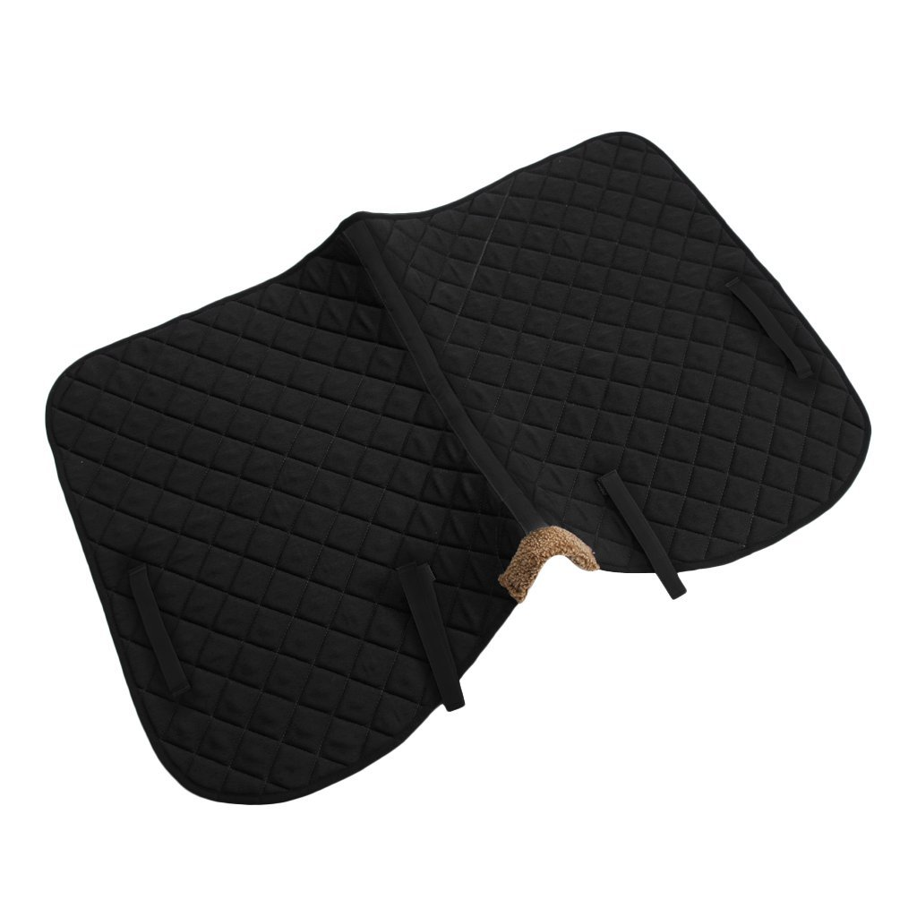 Black HOMYL Shock Absorption Foam Padded Horse English Quilted Saddle Pad Cushion Horse Tack Black