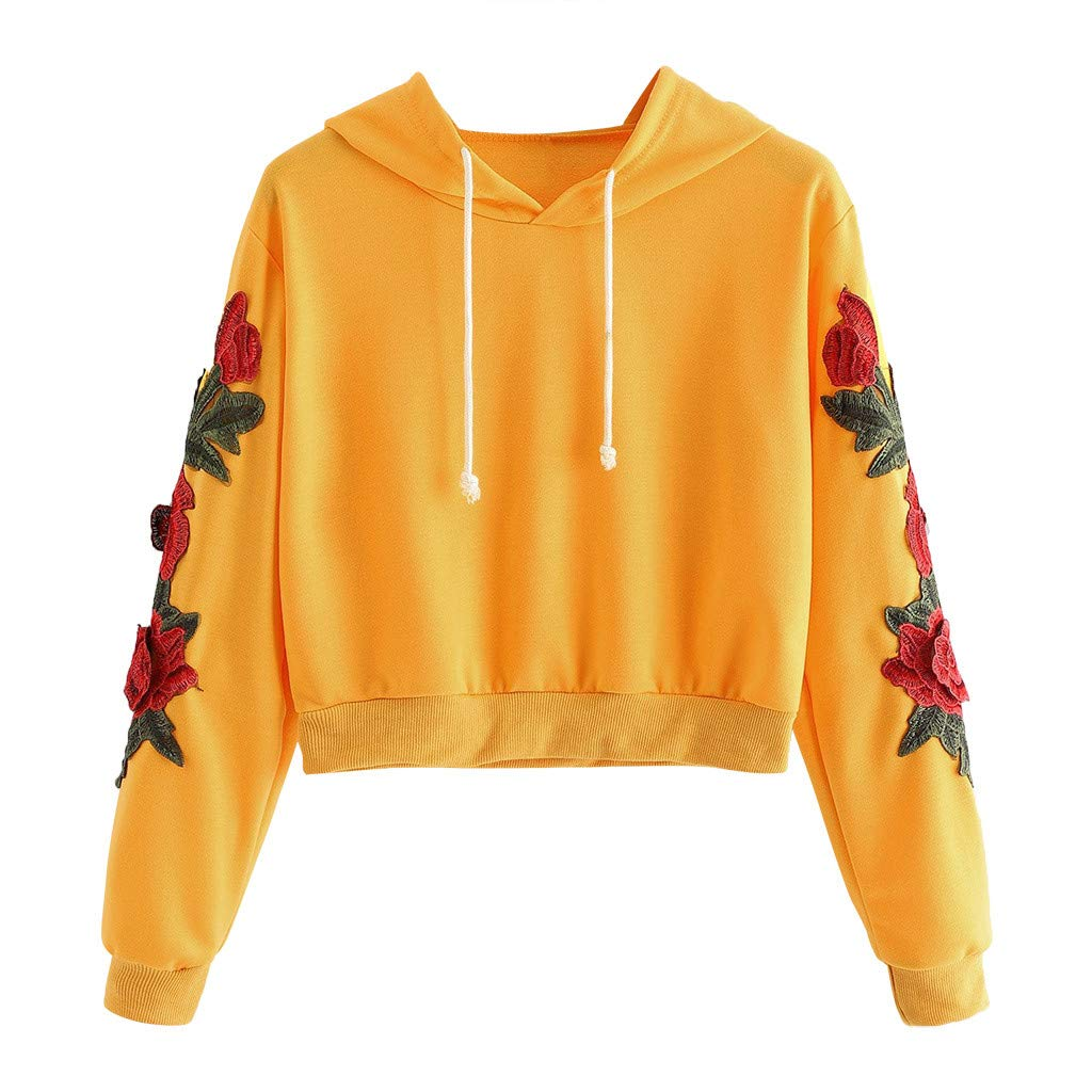 Autumn Sweatshirt for Women Long Sleeve Rose Applique Crop Top Drawstring Pullover Top Blouse T-Shirt (Yellow,S) by TozuoyouZ