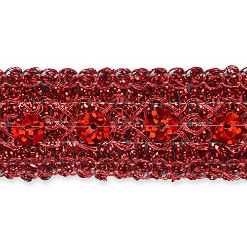 (Expo IR7043RD-20 20 yds of Adriana Sequin Met Braid Trim Red )