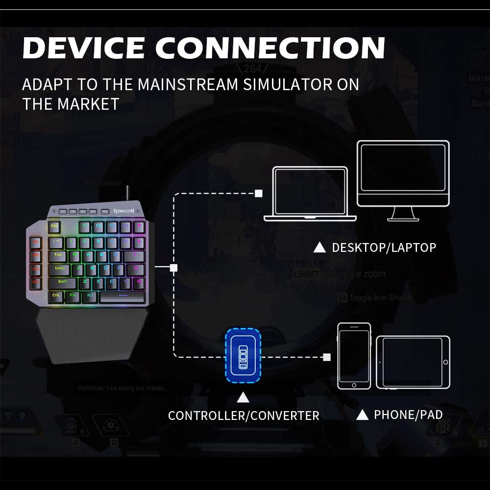 Black RGB One-Handed Mechanical Gaming Keyboard with Bright Backlight Keyboard with 4-Key Programmable Macro Gaming Keyboard