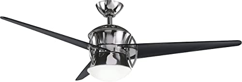 Kichler 300125MCH, Cadence Midnight Chrome 54 Ceiling Fan with Light Remote Control