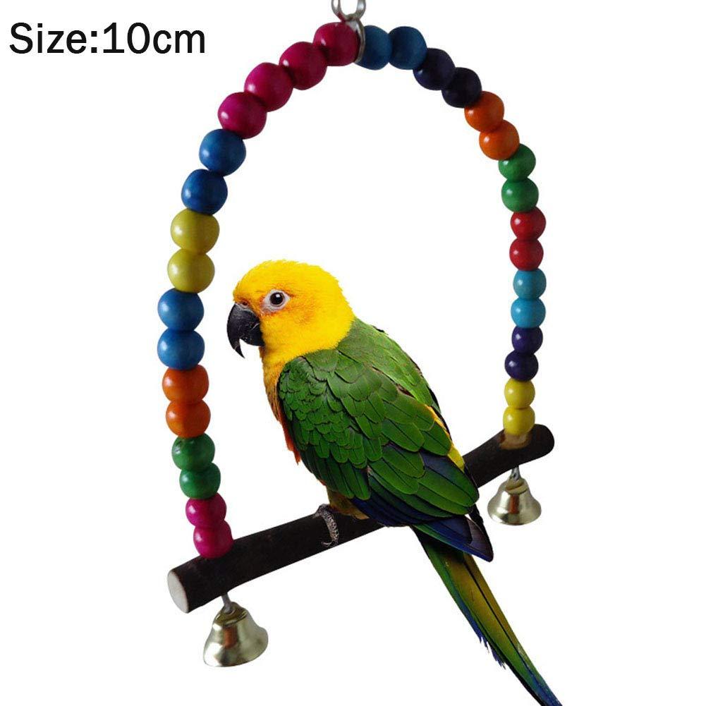 Crewell Parrot balançoire Bois coloré Perles Pet Cage à Oiseaux à Suspendre Jouet pour Perruche calopsitte élégante Amazones cacatoès, 10 cm