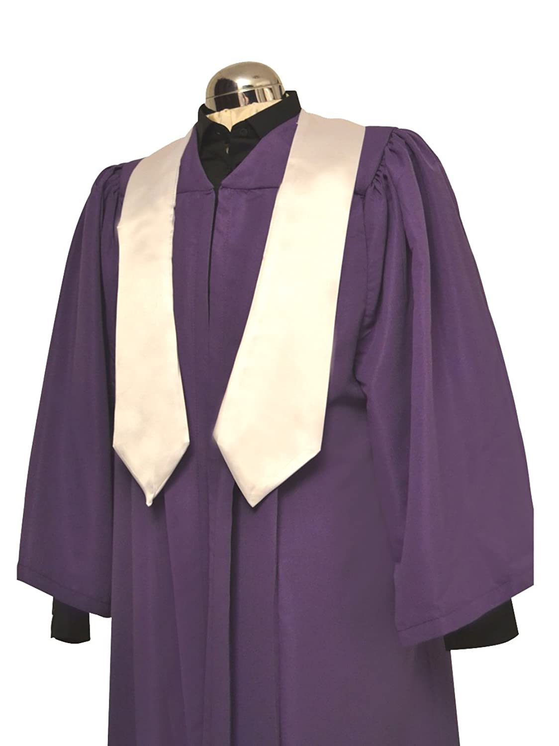 Amazon.com: Flat Pleat Choir Gown Purple with White Stole: Clothing