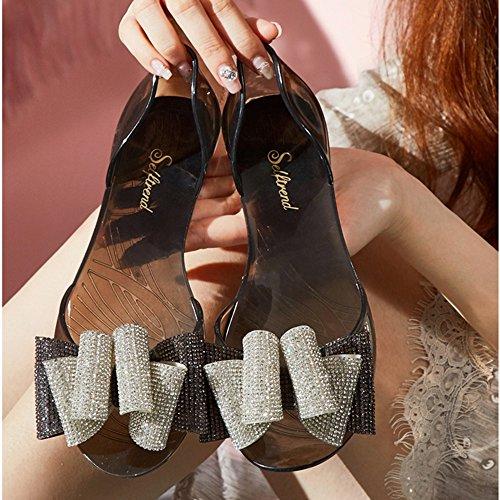 de Sandalias de de EU39 Color Zapatos punta Zapatos de jalea para Zapatos rhinestone de de UK6 playa ZHIRONG Roma diamantes imitación abierta planas de Tamaño mujer C estudiante Negro verano Negro 5 xB0wzxPpq