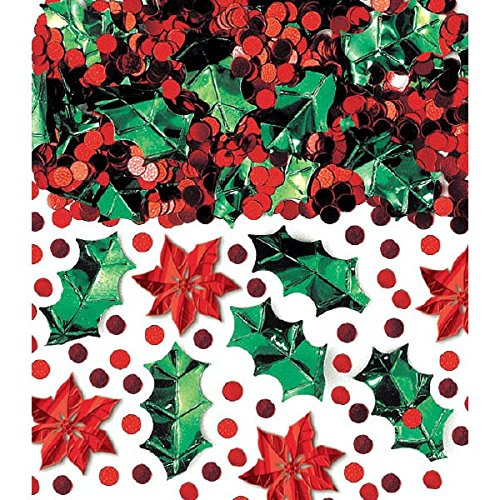 Amscan 1 Count Christmas Botanical Confetti Mix Foil, 2.5 oz, Multicolor