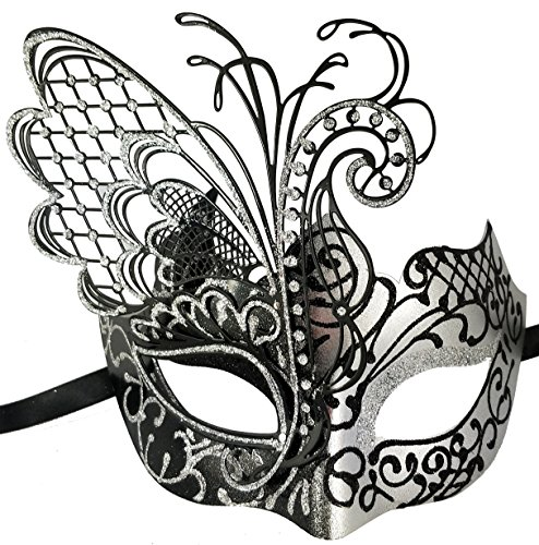 Xvevina Masquerade Mask for Women Black Silver Venetian Mask (Butterfly Black&Silver)
