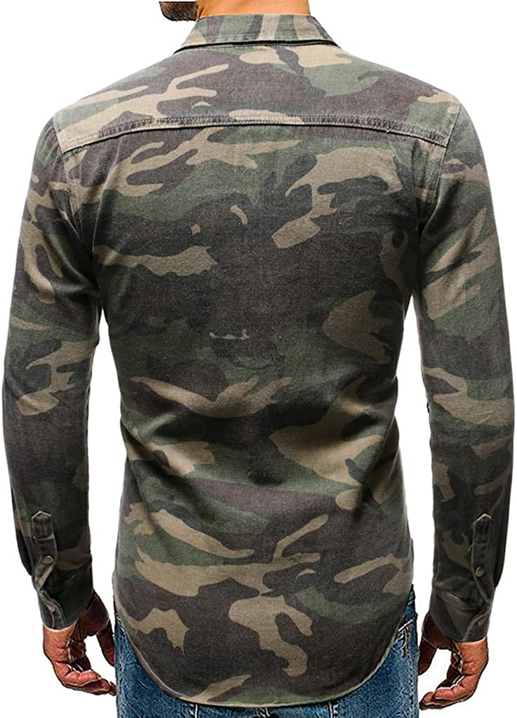 Mens Button Down Shirt Cotton Long Sleeve Camouflage Slim Fit Casual Outdoor Cargo Shirts