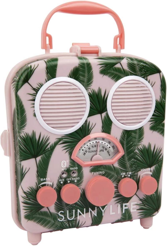 Retro Design Portable Radio MP3 Bluetooth Speaker System Pink Palm Tree Beach Boombox by Sunnylife Australia