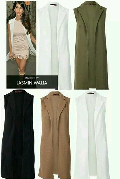 New Womens Ladies crepé chaleco sin mangas chaqueta larga Blazer chaqueta  Top 40ce692afb68