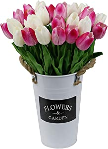 Omygarden Artificial Tulip Flower in Iron Bucket for Wedding Party Home Office DIY Decoration, (White & Pink, 30pcs)