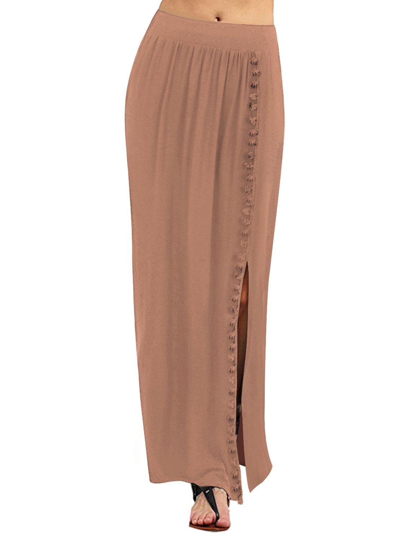 Regna X Boho Women's Summer Cool Lightweight Maxi Long Skirt (3 Styles, Plus Size) 8BKASM17005_P