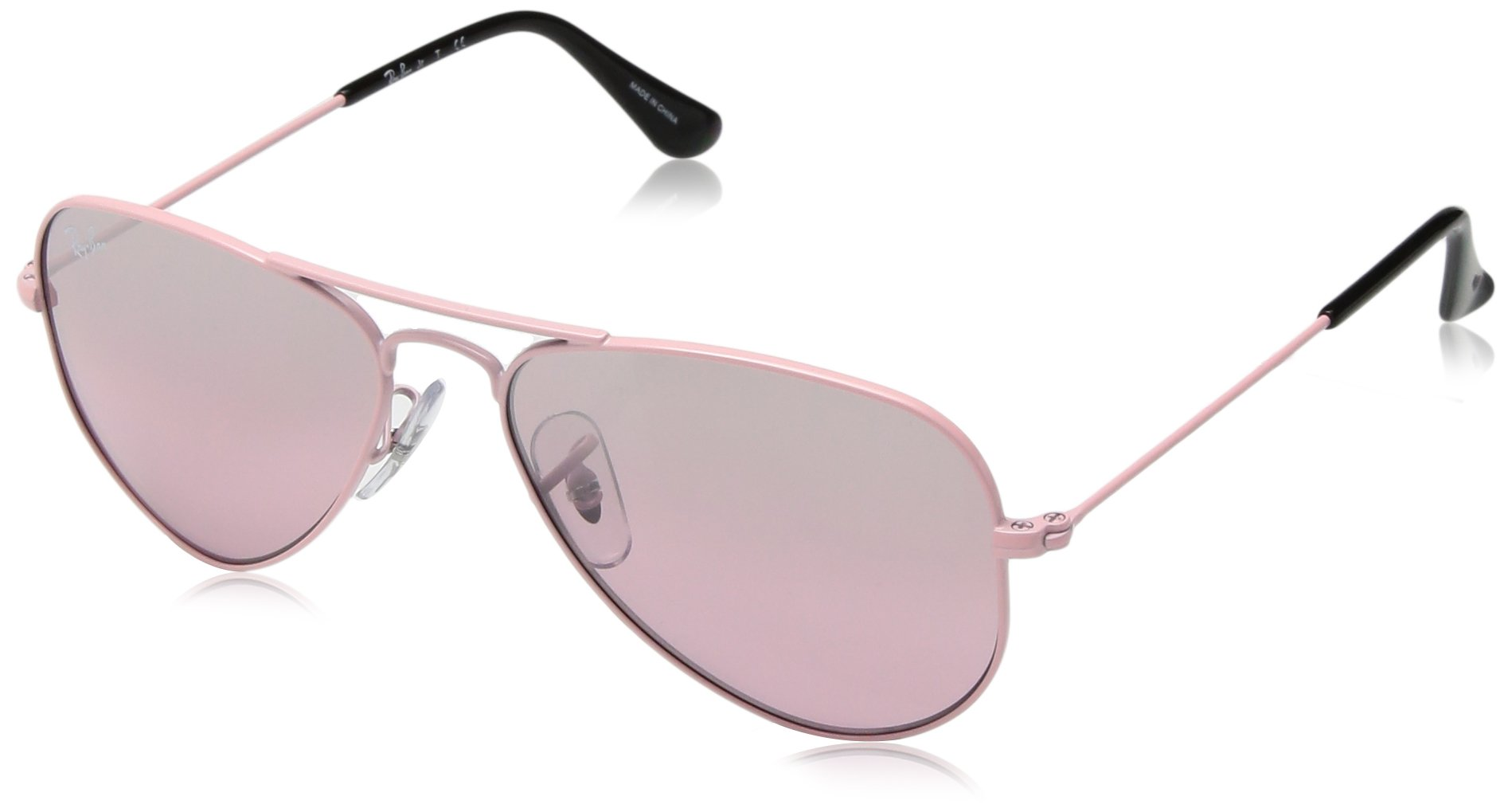 RAY-BAN JUNIOR Kids' RJ9506S Aviator Kids Sunglasses, Pink/Pink Mirror Silver Gradient, 52 mm by RAY-BAN JUNIOR