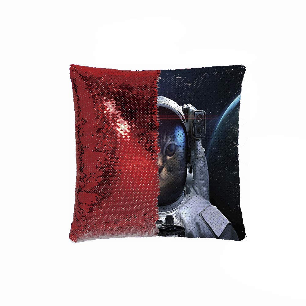 """Akghil Decorative Pillow Case Paillette Throw Mermaid Sequins Cushion Covers 18""""x18"""" (Silver and red), Cosmonaut Kitty in Galaxy Cosmos Nebula Stars with Eclipse Image"""