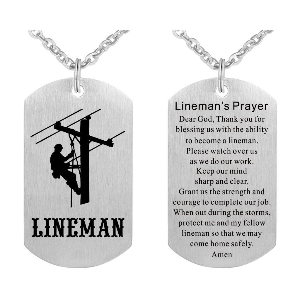Lineman Prayer Necklace Stainless Steel Dog Tag Gift Idea from Wife Pendant Keyring