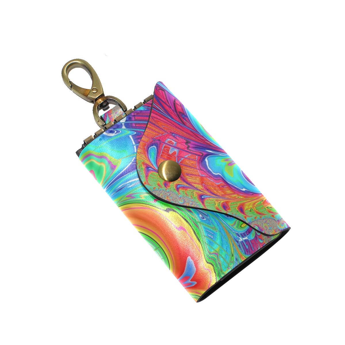 KEAKIA Fractal Art Leather Key Case Wallets Tri-fold Key Holder Keychains with 6 Hooks 2 Slot Snap Closure for Men Women